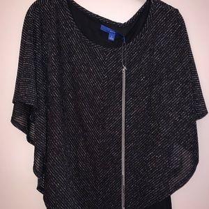 Apt 9 black & Silver shirt w/ silver chain